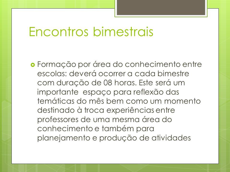 Encontros bimestrais Formação por área do conhecimento entre escolas: deverá ocorrer a cada bimestre com duração de 08 horas.