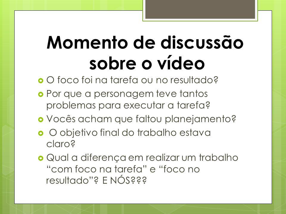 Momento de discussão sobre o vídeo O foco foi na tarefa ou no resultado.