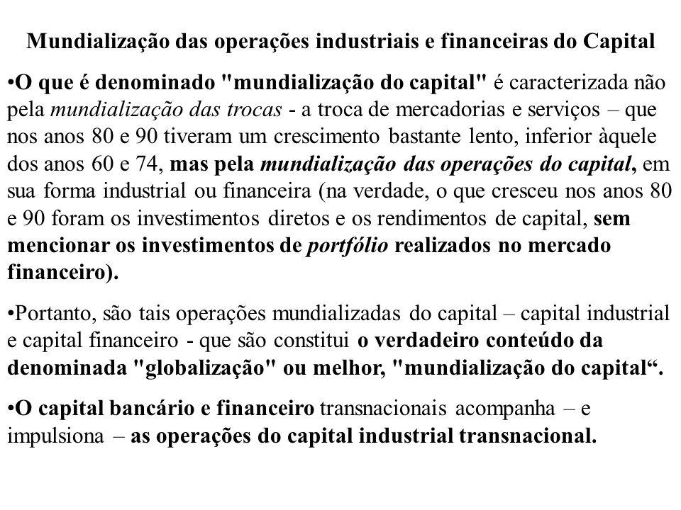 Mundialização das operações industriais e financeiras do Capital O que é denominado