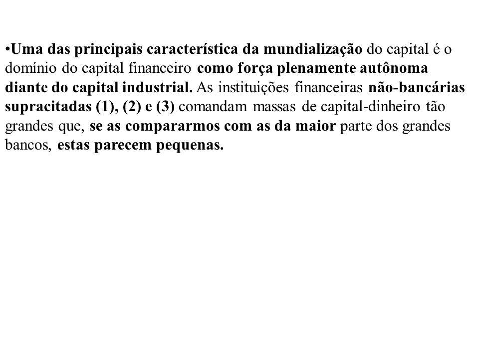 Uma das principais característica da mundialização do capital é o domínio do capital financeiro como força plenamente autônoma diante do capital indus