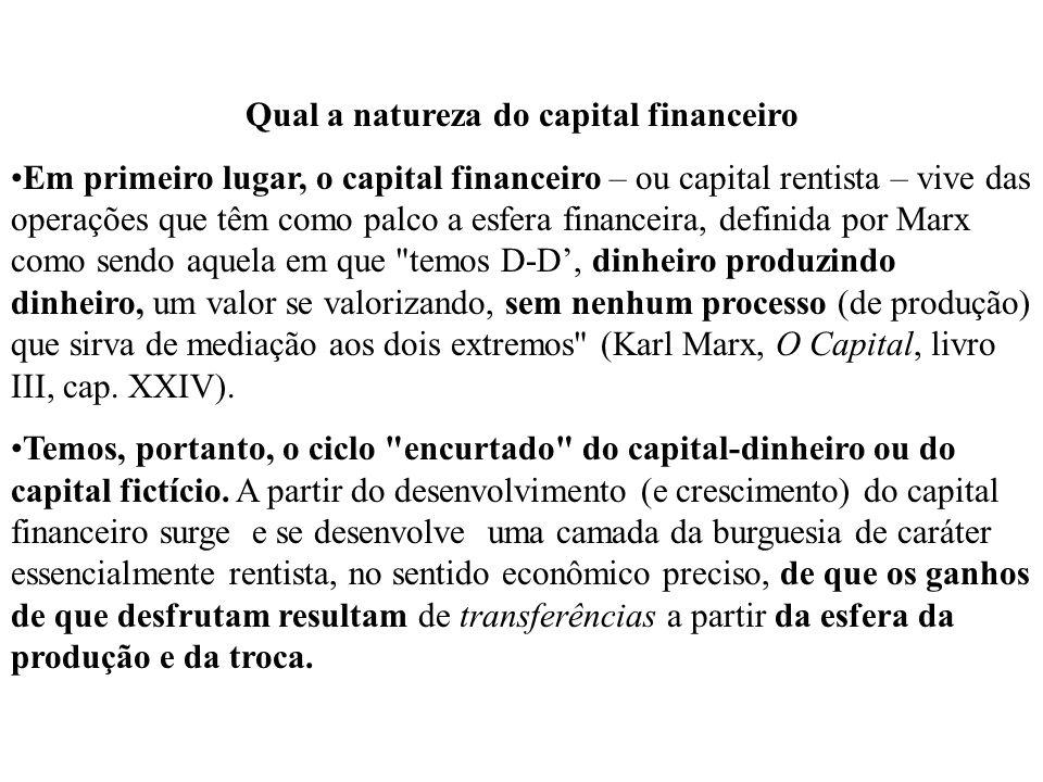 Qual a natureza do capital financeiro Em primeiro lugar, o capital financeiro – ou capital rentista – vive das operações que têm como palco a esfera f