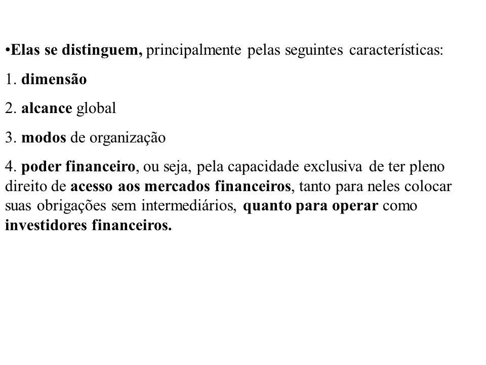 Elas se distinguem, principalmente pelas seguintes características: 1. dimensão 2. alcance global 3. modos de organização 4. poder financeiro, ou seja