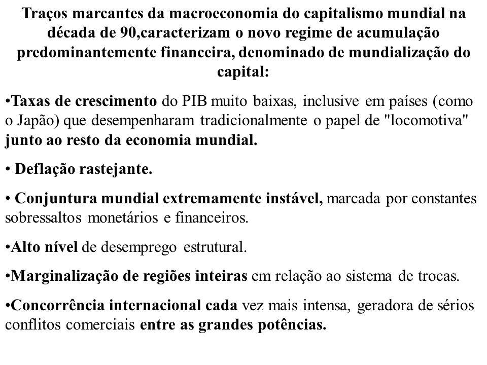 Traços marcantes da macroeconomia do capitalismo mundial na década de 90,caracterizam o novo regime de acumulação predominantemente financeira, denomi