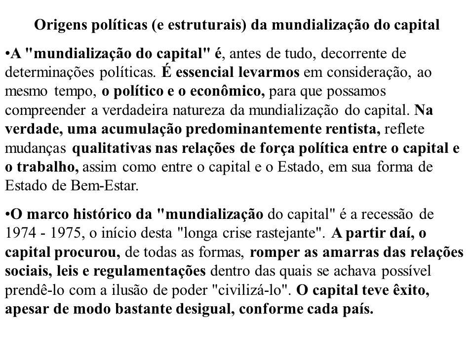 O que contribuiu para a ofensiva do capital a partir dos anos 70 foi: A força intrínseca do capital adquirida graças à longa fase de acumulação dos trinta anos gloriosos .