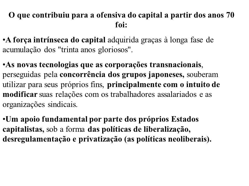 O que contribuiu para a ofensiva do capital a partir dos anos 70 foi: A força intrínseca do capital adquirida graças à longa fase de acumulação dos