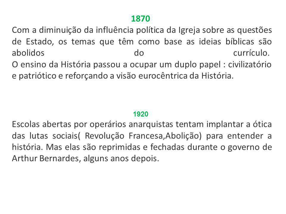 1870 Com a diminuição da influência política da Igreja sobre as questões de Estado, os temas que têm como base as ideias bíblicas são abolidos do curr