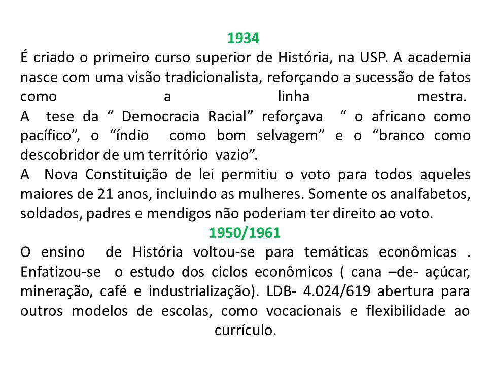 1934 É criado o primeiro curso superior de História, na USP. A academia nasce com uma visão tradicionalista, reforçando a sucessão de fatos como a lin