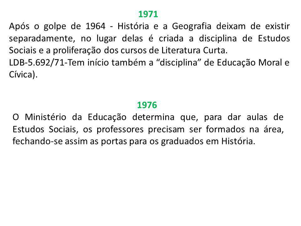 1971 Após o golpe de 1964 - História e a Geografia deixam de existir separadamente, no lugar delas é criada a disciplina de Estudos Sociais e a prolif