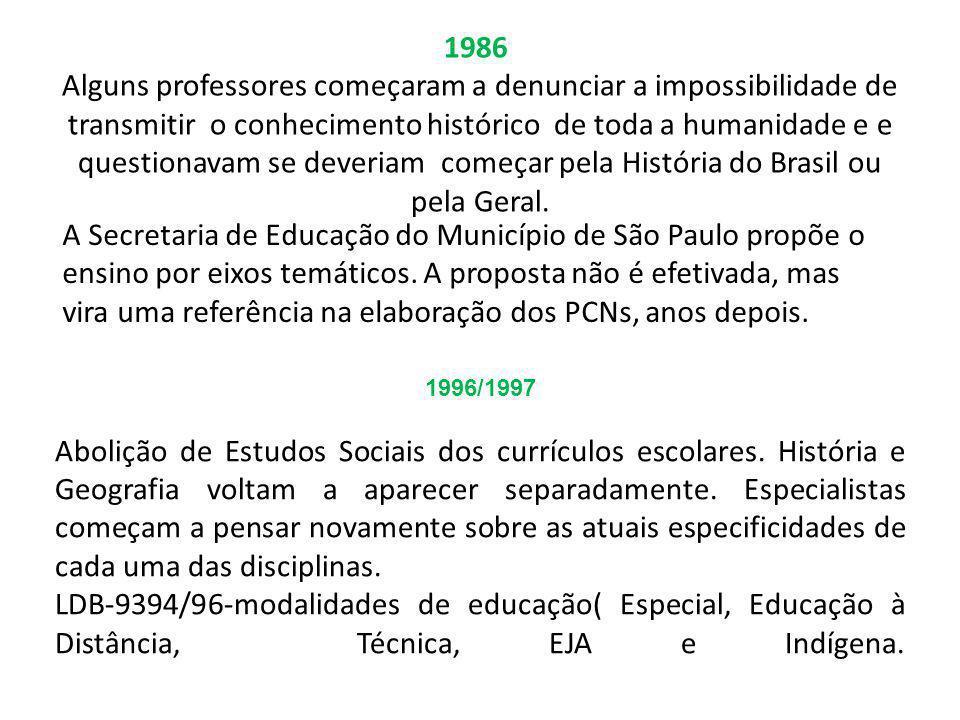 1986 Alguns professores começaram a denunciar a impossibilidade de transmitir o conhecimento histórico de toda a humanidade e e questionavam se deveri