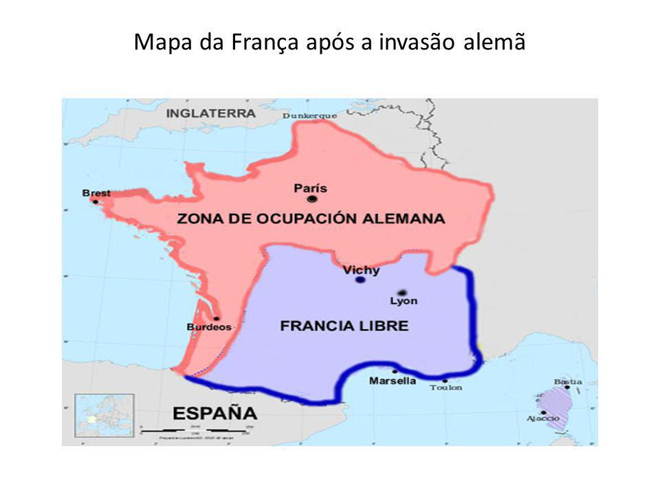 Mapa da França após a invasão alemã