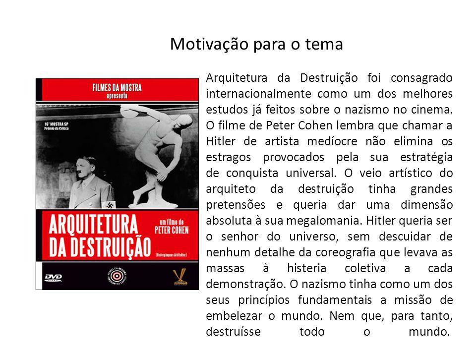 Motivação para o tema Arquitetura da Destruição foi consagrado internacionalmente como um dos melhores estudos já feitos sobre o nazismo no cinema. O