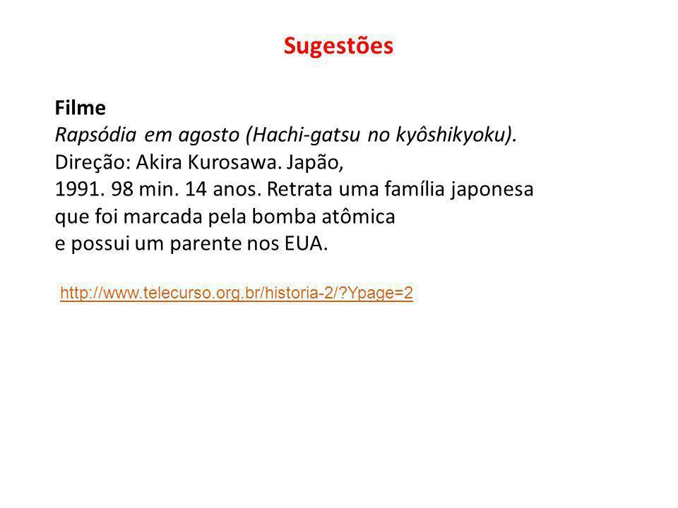Sugestões Filme Rapsódia em agosto (Hachi-gatsu no kyôshikyoku). Direção: Akira Kurosawa. Japão, 1991. 98 min. 14 anos. Retrata uma família japonesa q