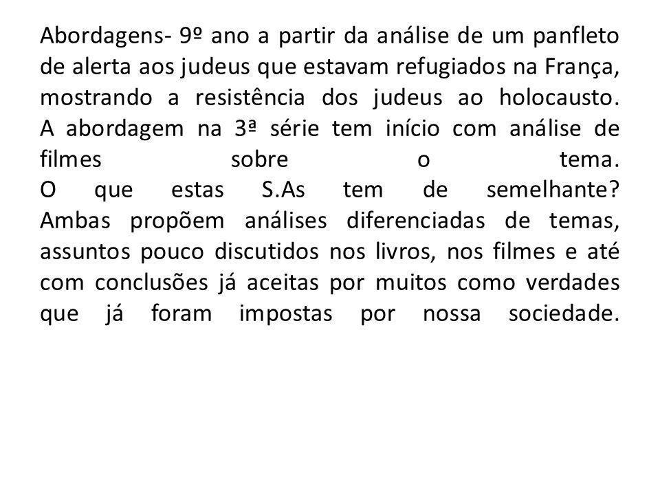 Abordagens- 9º ano a partir da análise de um panfleto de alerta aos judeus que estavam refugiados na França, mostrando a resistência dos judeus ao hol