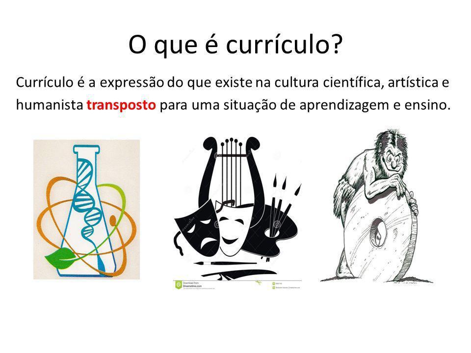 O que é currículo? Currículo é a expressão do que existe na cultura científica, artística e humanista transposto para uma situação de aprendizagem e e