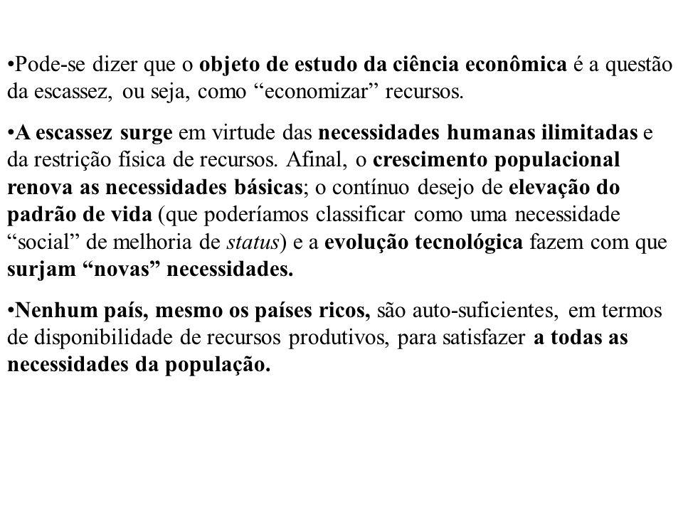 Pode-se dizer que o objeto de estudo da ciência econômica é a questão da escassez, ou seja, como economizar recursos. A escassez surge em virtude das