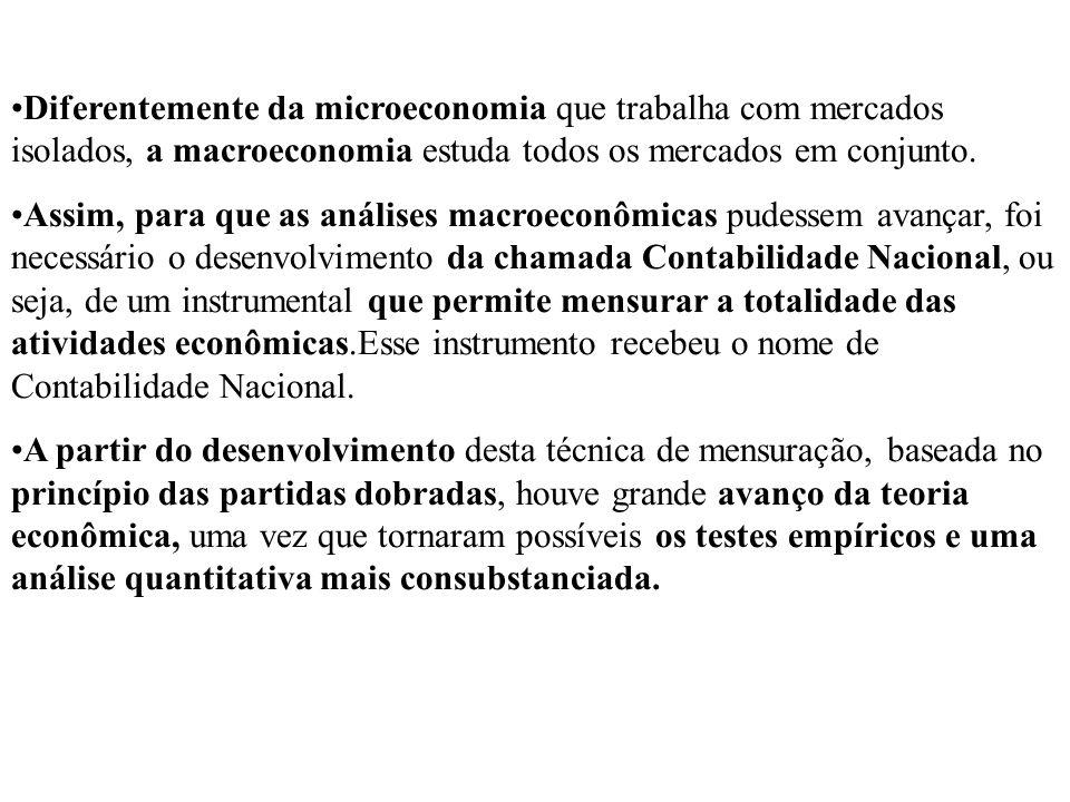 Diferentemente da microeconomia que trabalha com mercados isolados, a macroeconomia estuda todos os mercados em conjunto. Assim, para que as análises