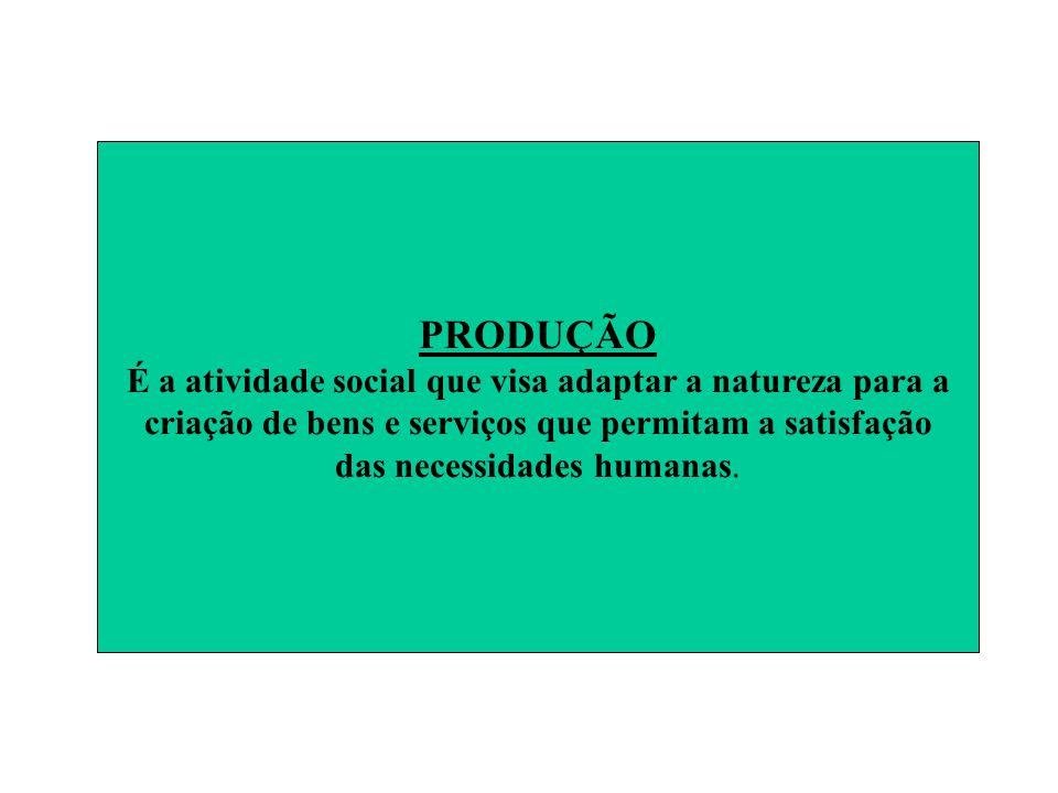 PRODUÇÃO É a atividade social que visa adaptar a natureza para a criação de bens e serviços que permitam a satisfação das necessidades humanas.