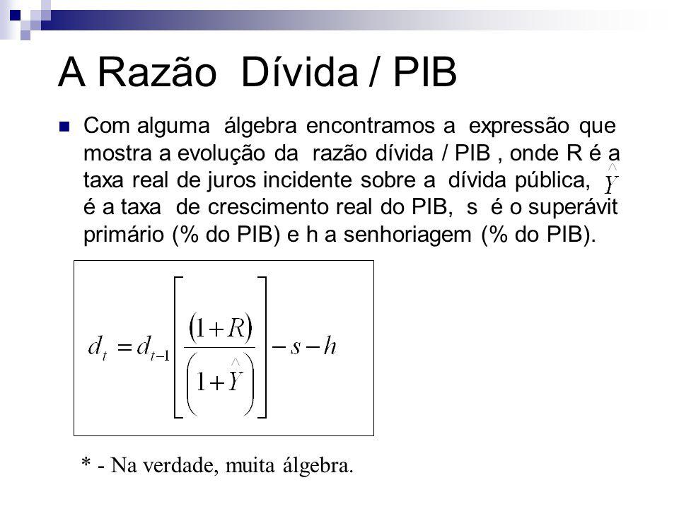 A Razão Dívida / PIB Com alguma álgebra encontramos a expressão que mostra a evolução da razão dívida / PIB, onde R é a taxa real de juros incidente s