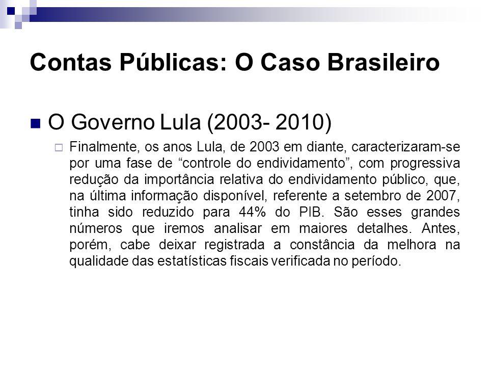 O Governo Lula (2003- 2010) Finalmente, os anos Lula, de 2003 em diante, caracterizaram-se por uma fase de controle do endividamento, com progressiva