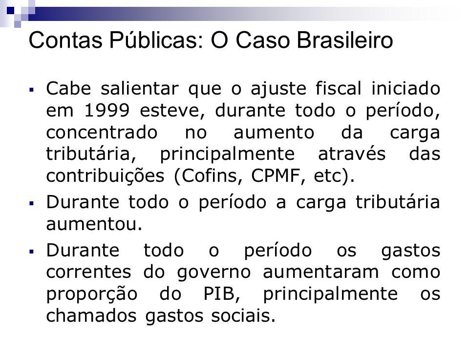 Cabe salientar que o ajuste fiscal iniciado em 1999 esteve, durante todo o período, concentrado no aumento da carga tributária, principalmente através