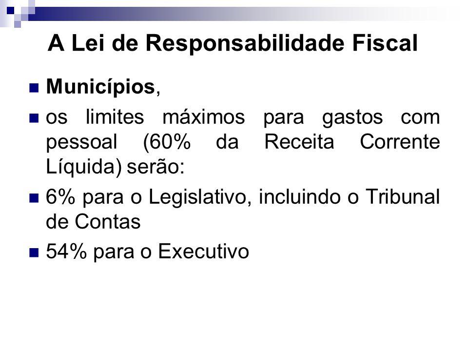 Municípios, os limites máximos para gastos com pessoal (60% da Receita Corrente Líquida) serão: 6% para o Legislativo, incluindo o Tribunal de Contas