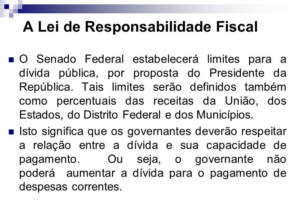 O Senado Federal estabelecerá limites para a dívida pública, por proposta do Presidente da República. Tais limites serão definidos também como percent