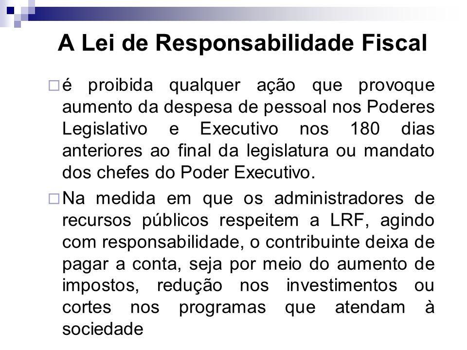 é proibida qualquer ação que provoque aumento da despesa de pessoal nos Poderes Legislativo e Executivo nos 180 dias anteriores ao final da legislatur
