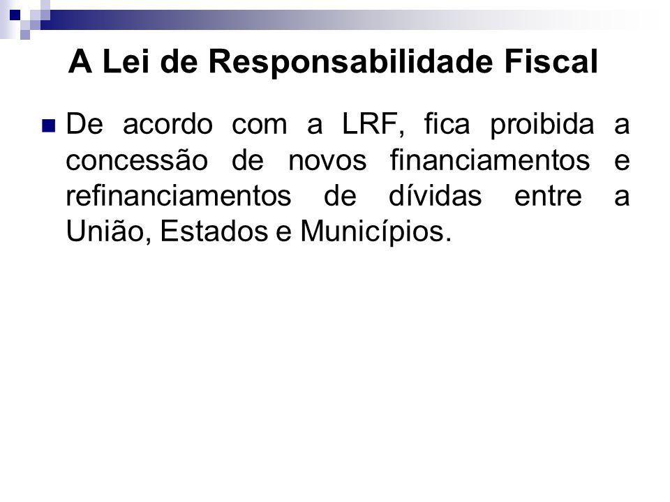 De acordo com a LRF, fica proibida a concessão de novos financiamentos e refinanciamentos de dívidas entre a União, Estados e Municípios. A Lei de Res