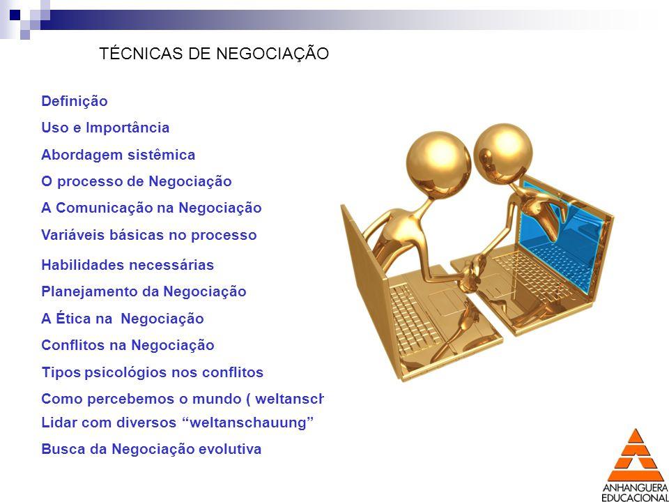 TÉCNICAS DE NEGOCIAÇÃO Definição Uso e Importância Abordagem sistêmica O processo de Negociação A Comunicação na Negociação Variáveis básicas no proce