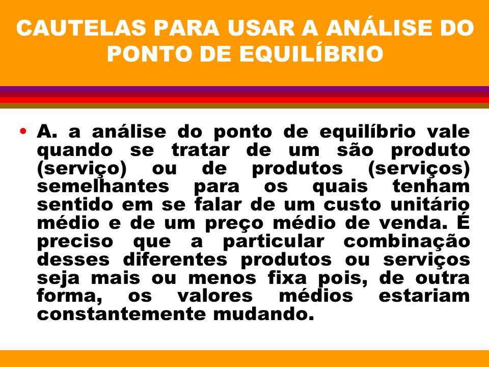 CAUTELAS PARA USAR A ANÁLISE DO PONTO DE EQUILÍBRIO A. a análise do ponto de equilíbrio vale quando se tratar de um são produto (serviço) ou de produt