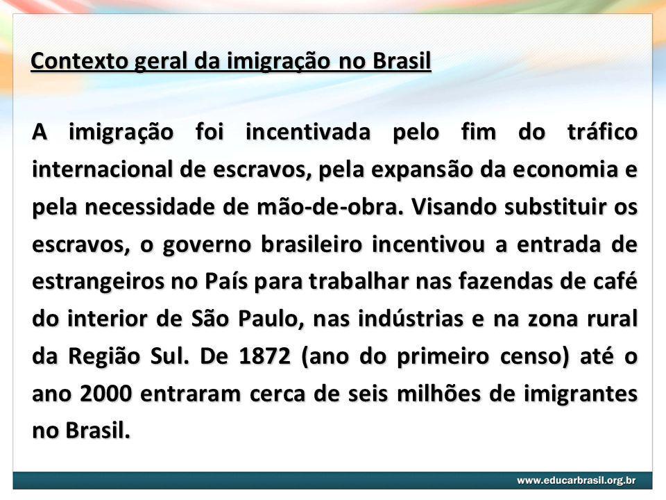 Contexto geral da imigração no Brasil A imigração foi incentivada pelo fim do tráfico internacional de escravos, pela expansão da economia e pela nece