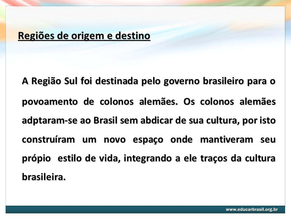Regiões de origem e destino A Região Sul foi destinada pelo governo brasileiro para o povoamento de colonos alemães. Os colonos alemães adptaram-se ao
