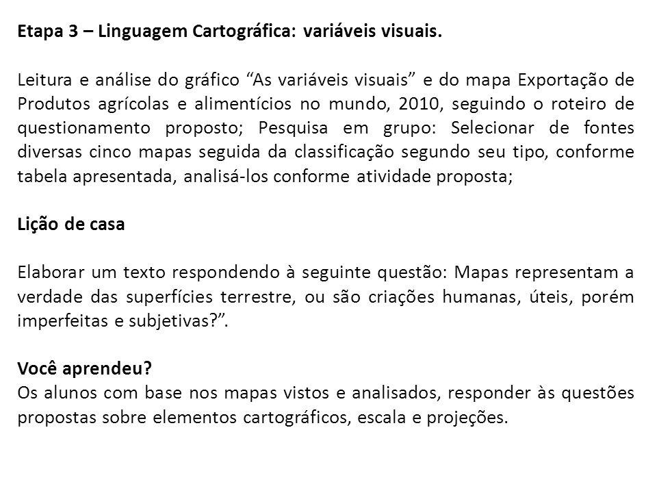 Etapa 3 – Linguagem Cartográfica: variáveis visuais. Leitura e análise do gráfico As variáveis visuais e do mapa Exportação de Produtos agrícolas e al