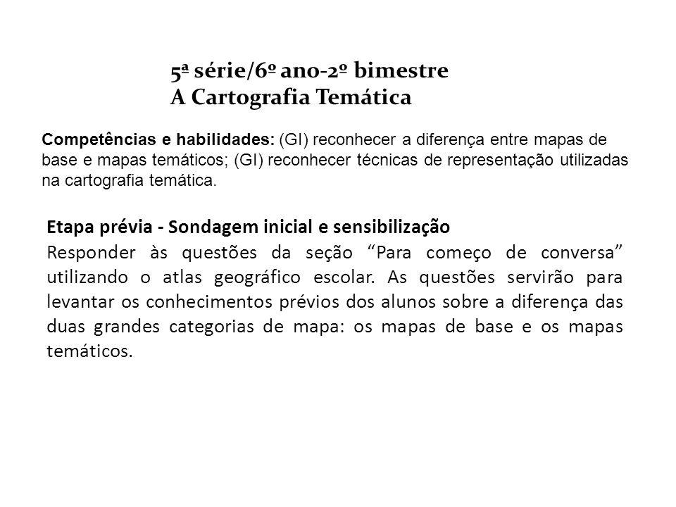 5ª série/6º ano-2º bimestre A Cartografia Temática Etapa prévia - Sondagem inicial e sensibilização Responder às questões da seção Para começo de conv