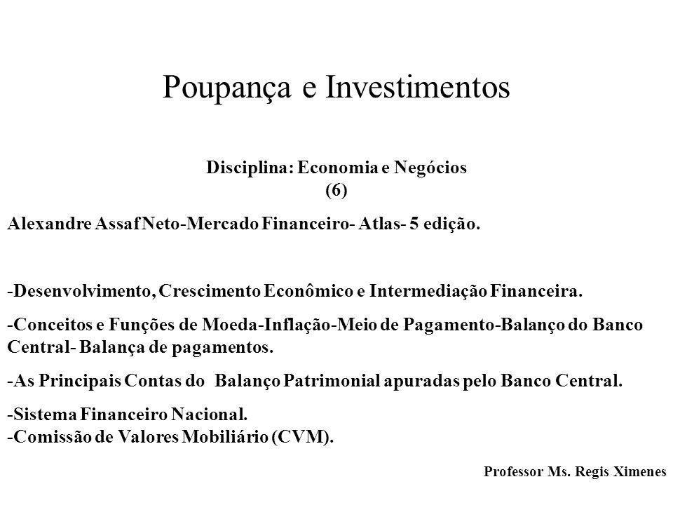 Poupança e Investimentos Disciplina: Economia e Negócios (6) Alexandre Assaf Neto-Mercado Financeiro- Atlas- 5 edição. -Desenvolvimento, Crescimento E