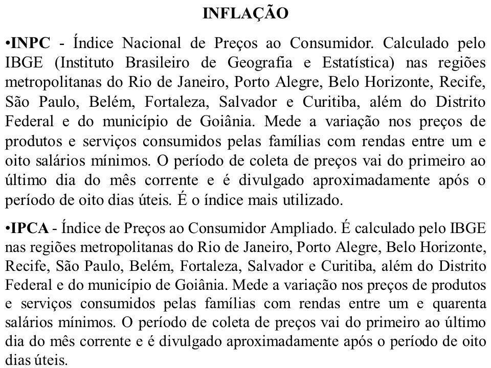 INFLAÇÃO INPC - Índice Nacional de Preços ao Consumidor. Calculado pelo IBGE (Instituto Brasileiro de Geografia e Estatística) nas regiões metropolita