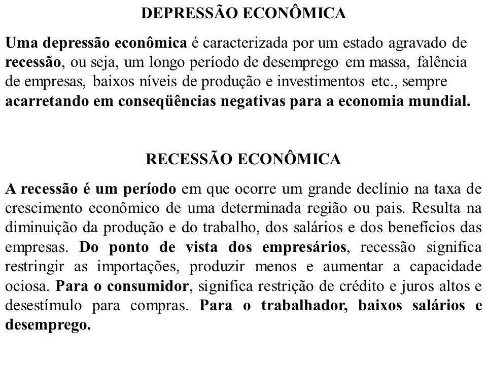 DEPRESSÃO ECONÔMICA Uma depressão econômica é caracterizada por um estado agravado de recessão, ou seja, um longo período de desemprego em massa, falê