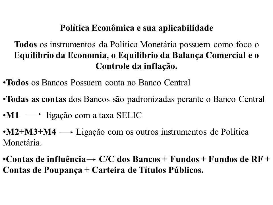 Política Econômica e sua aplicabilidade Todos os instrumentos da Política Monetária possuem como foco o Equilíbrio da Economia, o Equilíbrio da Balanç