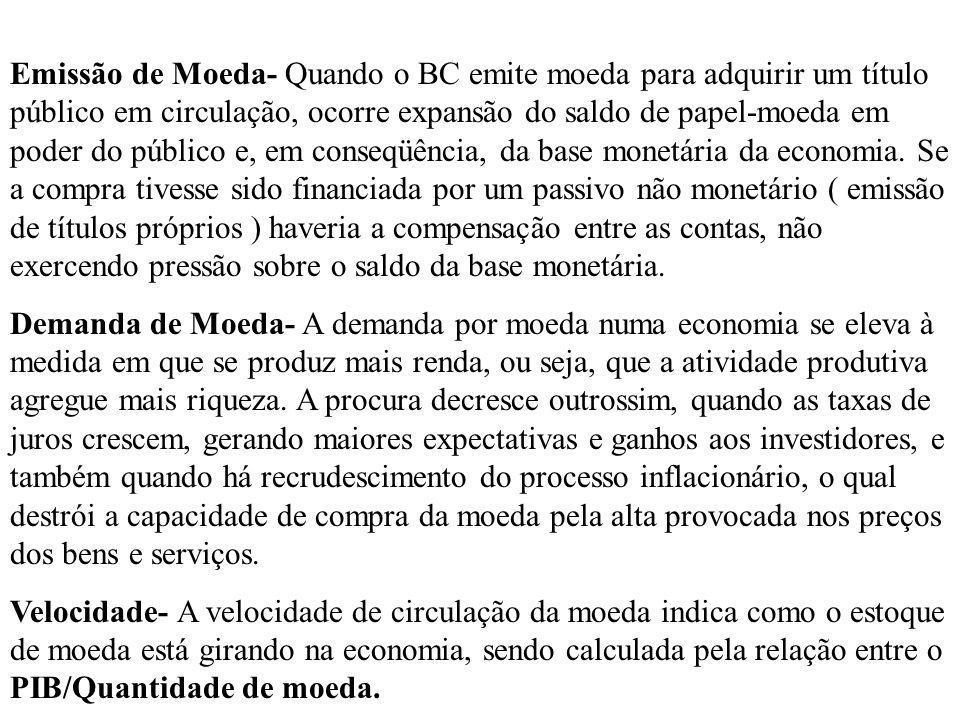 Emissão de Moeda- Quando o BC emite moeda para adquirir um título público em circulação, ocorre expansão do saldo de papel-moeda em poder do público e