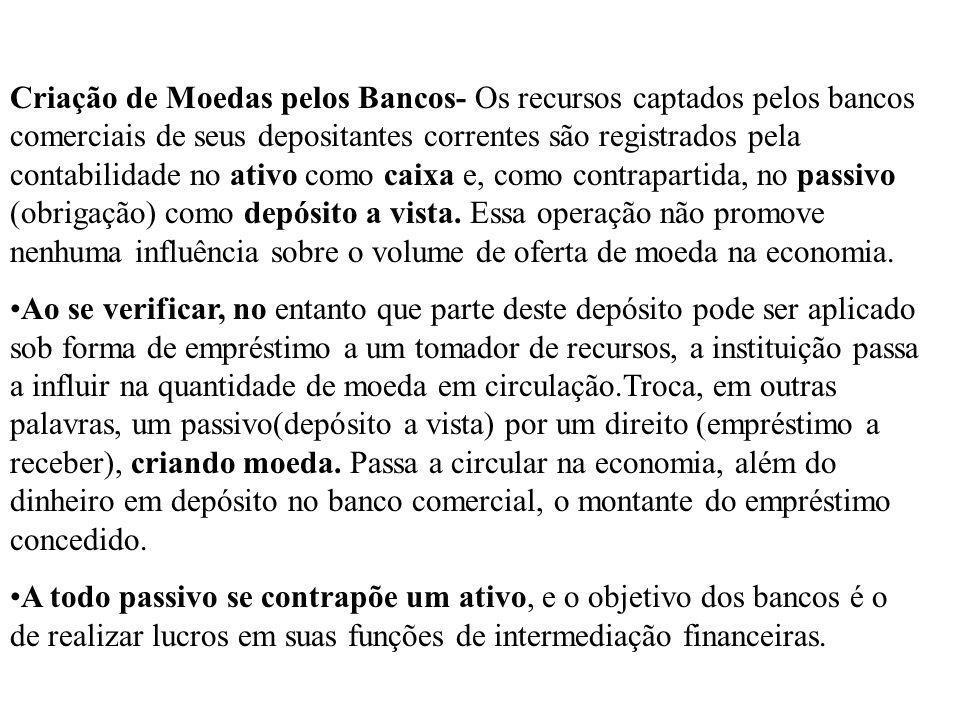 Criação de Moedas pelos Bancos- Os recursos captados pelos bancos comerciais de seus depositantes correntes são registrados pela contabilidade no ativ