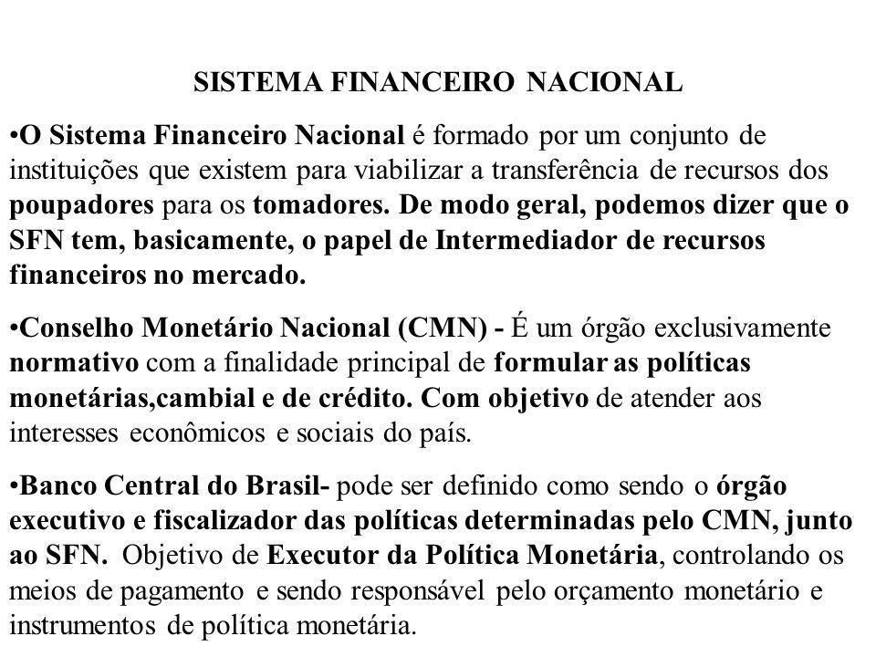 SISTEMA FINANCEIRO NACIONAL O Sistema Financeiro Nacional é formado por um conjunto de instituições que existem para viabilizar a transferência de rec