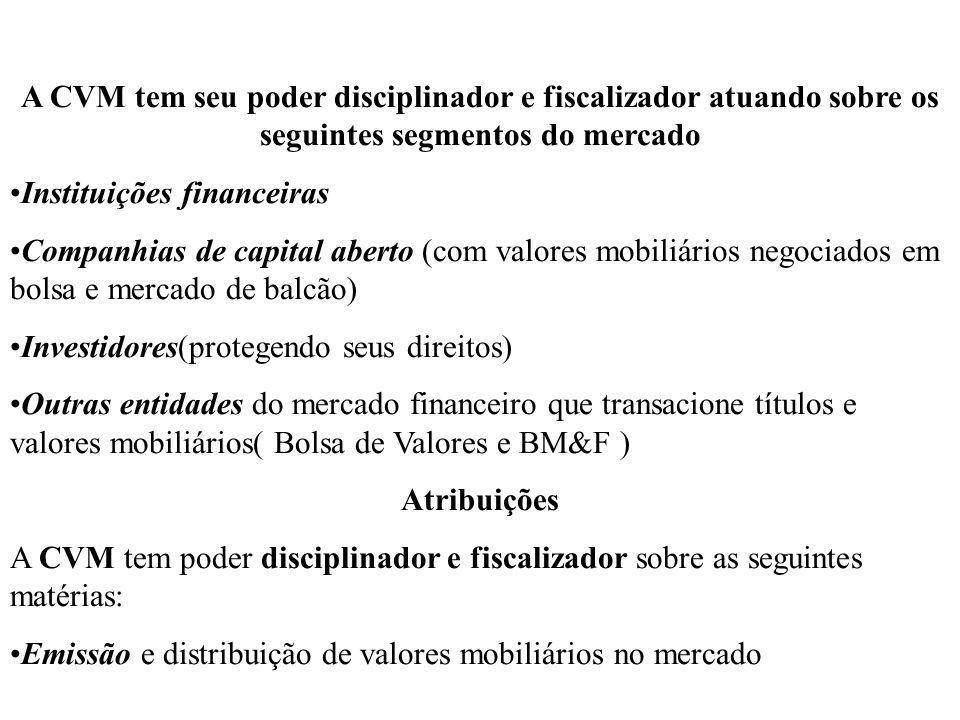 A CVM tem seu poder disciplinador e fiscalizador atuando sobre os seguintes segmentos do mercado Instituições financeiras Companhias de capital aberto
