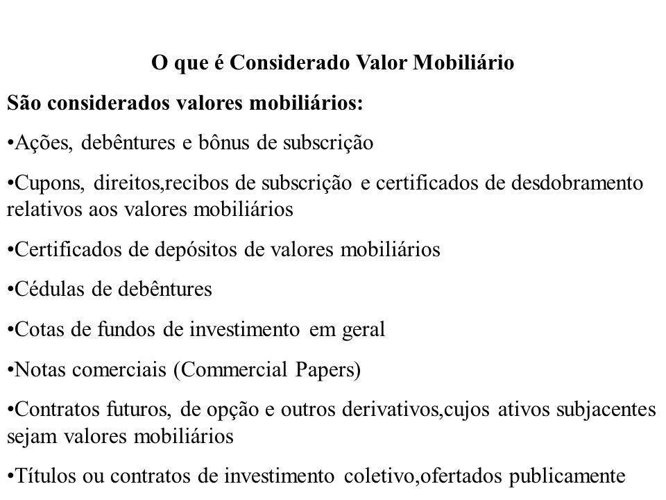 O que é Considerado Valor Mobiliário São considerados valores mobiliários: Ações, debêntures e bônus de subscrição Cupons, direitos,recibos de subscri