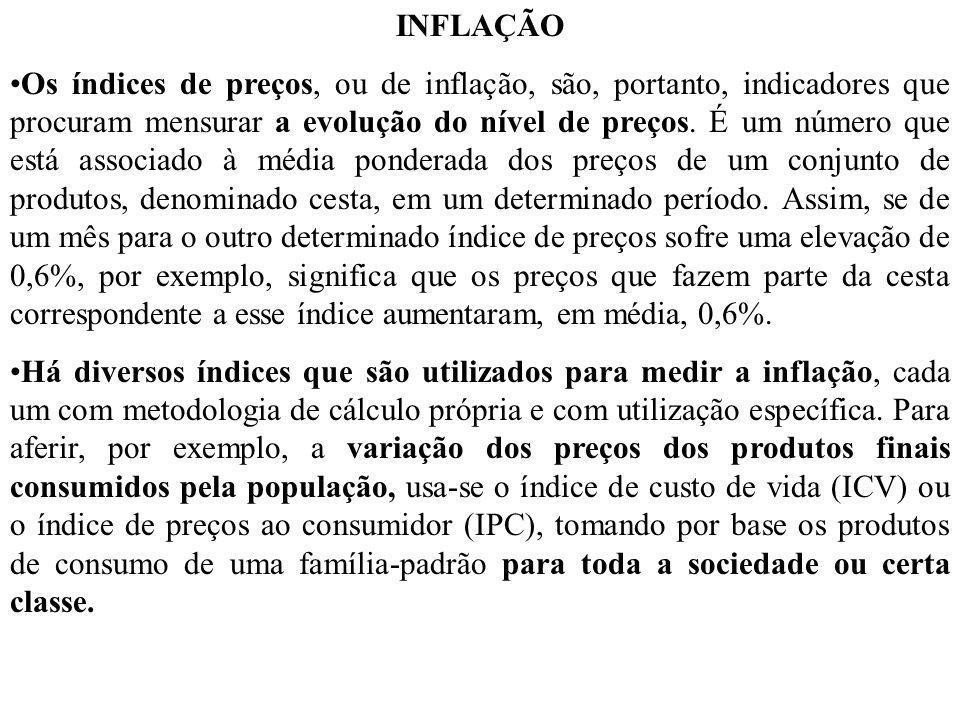 INFLAÇÃO Os índices de preços, ou de inflação, são, portanto, indicadores que procuram mensurar a evolução do nível de preços. É um número que está as