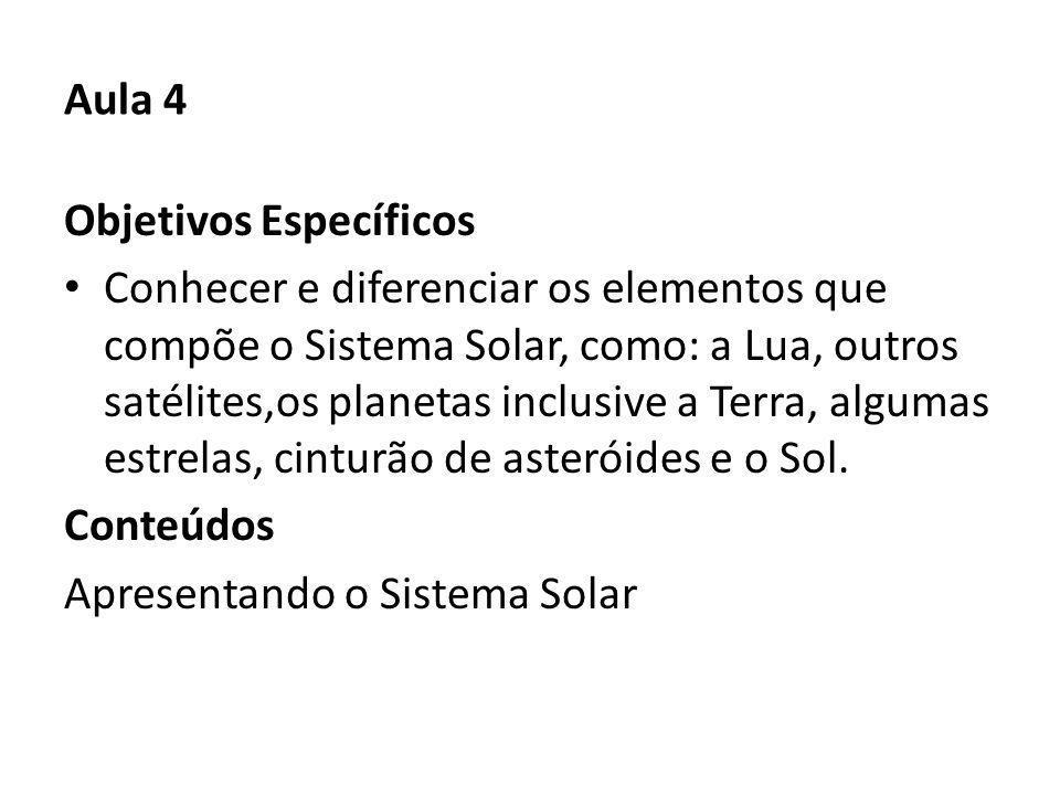Aula 4 Objetivos Específicos Conhecer e diferenciar os elementos que compõe o Sistema Solar, como: a Lua, outros satélites,os planetas inclusive a Terra, algumas estrelas, cinturão de asteróides e o Sol.