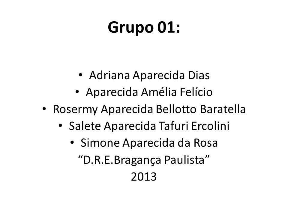 Grupo 01: Adriana Aparecida Dias Aparecida Amélia Felício Rosermy Aparecida Bellotto Baratella Salete Aparecida Tafuri Ercolini Simone Aparecida da Ro