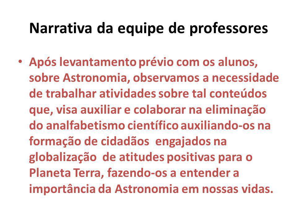 Narrativa da equipe de professores Após levantamento prévio com os alunos, sobre Astronomia, observamos a necessidade de trabalhar atividades sobre ta