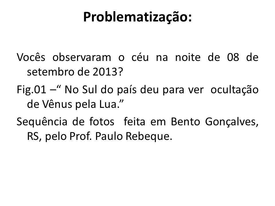 Problematização: Vocês observaram o céu na noite de 08 de setembro de 2013? Fig.01 – No Sul do país deu para ver ocultação de Vênus pela Lua. Sequênci