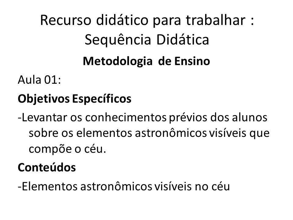 Recurso didático para trabalhar : Sequência Didática Metodologia de Ensino Aula 01: Objetivos Específicos -Levantar os conhecimentos prévios dos alunos sobre os elementos astronômicos visíveis que compõe o céu.
