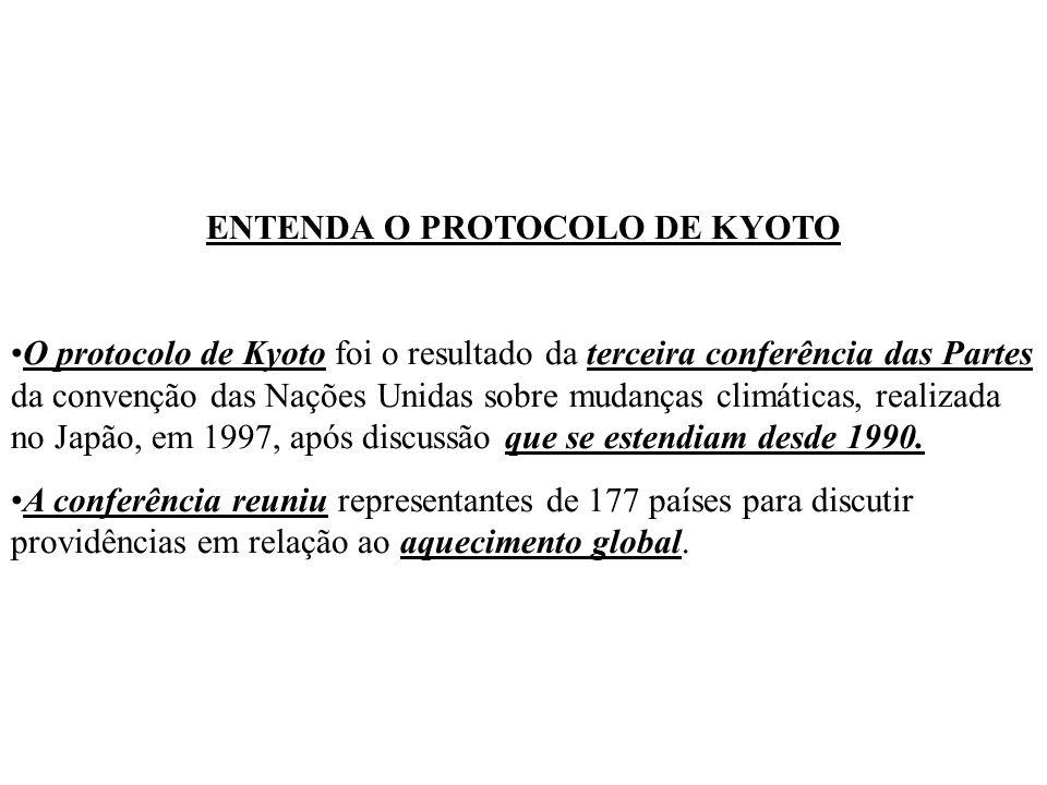 ENTENDA O PROTOCOLO DE KYOTO O protocolo de Kyoto foi o resultado da terceira conferência das Partes da convenção das Nações Unidas sobre mudanças climáticas, realizada no Japão, em 1997, após discussão que se estendiam desde 1990.